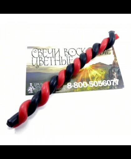 Свечи восковые СКРУТКИ в две свечи (500грамм) Черно-красное