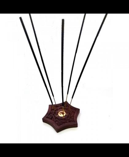 Подставка для палочек и конусов в виде 6-гранника, с резьбой, диаметр 10 см